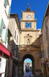 Der Glockenturm und das Tor, Salon de Provence, Frankreich stockfoto
