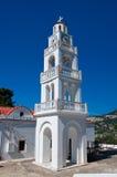Der Glockenturm von Tsambika-Kloster, Rhodos, Griechenland. lizenzfreie stockfotografie