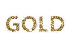 Der GOLDbuchstabe besteht aus kleinem Gold Abbildung 3D Lizenzfreies Stockbild