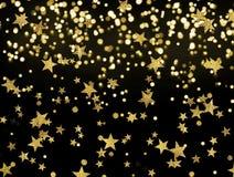 Der goldene Regen von Sternen auf dem schwarzen Hintergrund, Feier Lizenzfreies Stockbild