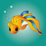 Der Goldfisch, der Träume durchführt, gehen in Erfüllung Stockfotos
