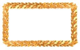 Der Goldrechteckige Rahmen von Lorbeerzweigen Stockbild