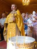 Der Gottesdienst in der christlichen Kirche Stockbild