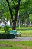 Der grüne Stuhl im Park. Stockbilder