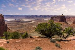 Der Green River schlängelt sich um MESAs und Buttes in Nationalpark Canyonlands Stockfotografie