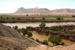 Der Green River und die Buch-Klippen Stockbild