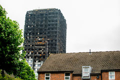 Der Grenfell-Turm-Block-Feuer-Unfall Lizenzfreie Stockfotos
