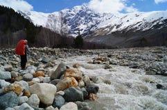 Der große Adishi-Gletscher Stockbilder