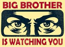 Der große Bruder, der Sie Spionageaugen-, Überwachungs- und Privatlebenkonzept aufpasst, vector Illustration Lizenzfreie Stockfotografie