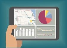 Der große Daten- und Analytikarmaturenbrett, der auf Tablette angezeigt wird, sortieren als Illustration aus vektor abbildung