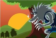 Der große falsche Ravenous Wolf und drei das saftige Schweinefleisch Cho lizenzfreies stockbild