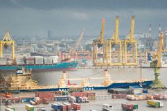 Der große Hafen St Petersburg, Vogelperspektive Lizenzfreies Stockfoto