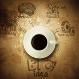 Der große Ideendiagrammtasse kaffee-Weinlese-Papierhintergrund Stockfoto