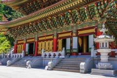 Der große Lehrer Hall Daejosajeon des koreanischen buddhistischen Tempels Komplex Guinsa an einem vollen Tag Guinsa, Danyan-Regio stockfoto