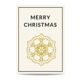 Der Grußkarte der frohen Weihnachten goldene Schneeflocke lizenzfreie abbildung