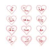 Der Gruß des Valentinsgrußes im Herzgekritzel-Rahmensatz Lizenzfreie Stockfotografie