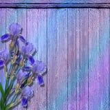 Der grunge hölzerne Hintergrund mit Blumen. lizenzfreie abbildung