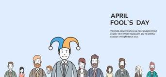 Der Gruppen-Geschäftsleute Abnutzungs-Jester Hat, Dummkopf-Tag April Holiday Banner Copy Space vektor abbildung