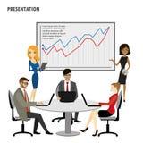 Der Gruppen-Geschäftsleute Darstellungs-Flip Chart Finance Lizenzfreies Stockbild