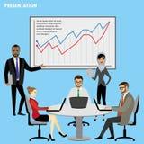 Der Gruppen-Geschäftsleute Darstellungs-Flip Chart Finance, lokalisiert Stockfotografie