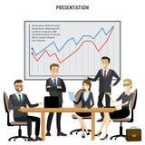 Der Gruppen-Geschäftsleute Darstellungs-Flip Chart Finance, lokalisiertes O Lizenzfreie Stockfotografie