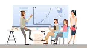 Der Gruppen-Geschäftsleute Darstellungs-Flip Chart Finance, zufällige Wirtschaftler Team Training Conference Meeting Lizenzfreie Stockfotografie