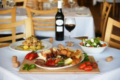 Der gute Geschmack des Essens am Restaurant Stockfotografie