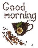 Der gute Morgen der Aufschrift der Kaffeebohnen Lizenzfreie Stockfotos