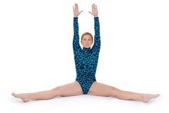 Der Gymnast, der eine Spalte tut, übergibt oben Stockfotografie