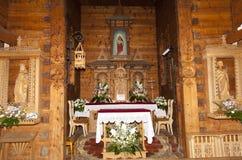Der hölzerne Altar Stockfotografie