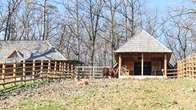 Der hölzerne Bauernhof mit Bretterzaun an einem sonnigen schönen Tag stockbilder