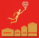 Der hölzerne Mann, der über Probleme, Leid, Schmerz, Krise mit Luftschiff auf Rot fliegt Lizenzfreie Stockbilder