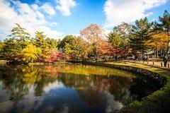 Der hölzerne Turm -ji zu des Tempels in Nara Japan ist das größte te Lizenzfreie Stockfotos