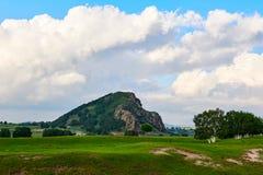 Der Hügel auf dem Wiesensonnenuntergang Stockfotos