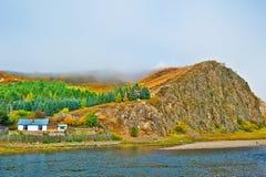 Der Hügel in der Wolke und im Nebel Stockfotos