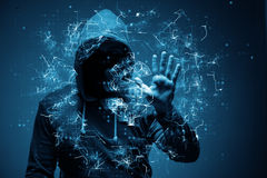 Der Hacker, der Dollar von der Bank stiehlt Lizenzfreies Stockfoto
