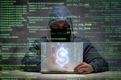 Der Hacker, der Dollar von der Bank stiehlt Lizenzfreies Stockbild
