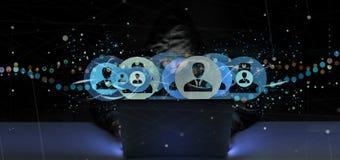 Der Hacker-Mann, der ein Berufskontaktnetzkonzept 3d hält, ren Lizenzfreies Stockfoto