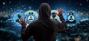Der Hacker-Mann, der ein Berufskontaktnetzkonzept 3d hält, ren Stockbilder