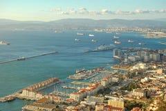 Der Hafen und die Bucht von Gibraltar Stockbilder