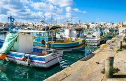 Der Hafen von Marsaxlokk in Malta Stockbild