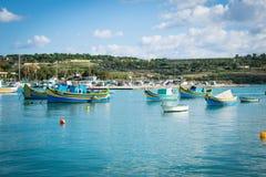 Der Hafen von Marsaxlokk in Malta Stockfotos