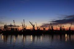 Der Hafen von Odessa nachts Lizenzfreie Stockfotos