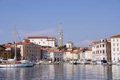 Der Hafen von Piran Stockfoto