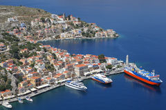 Der Hafen von Symi, Griechenland lizenzfreies stockfoto