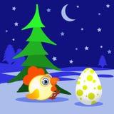 Der Hahn, Huhn, junger Hahn, den ein Symbol des Tannenbaums des neuen Jahres 2017pod auf Schnee mit Ei sitzt Ein Emblem auf den C Stockbilder