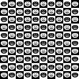 Der Halloween-Schwarzweiss-Mosaikhintergrund mit Schwarzweiss-Kürbisen in kontrastierenden Quadraten versehen abwechselnd in Folg stock abbildung