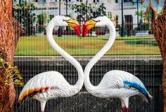 Der Hals des weißen Flamingos, der Herzform bildet Stockbild