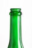 Der Hals einer leeren Flasche transparenten Glases Lizenzfreie Stockfotos