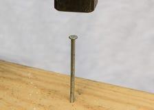 Der Hammer in einem Nagel Lizenzfreie Stockbilder